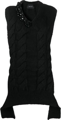Simone Rocha Embellished Cable-Knit Vest