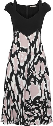 Roberto Cavalli Cutout Printed Stretch-crepe Dress