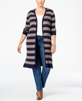 Style&Co. Style & Co. Plus Size Striped Open-Front Duster Cardigan, Only at Macy's