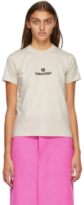 Balenciaga Beige Sponsor Logo T-Shirt