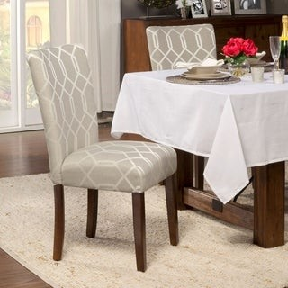 HomePop Pewter Grey Cream Lattice Elegance Parson Chairs