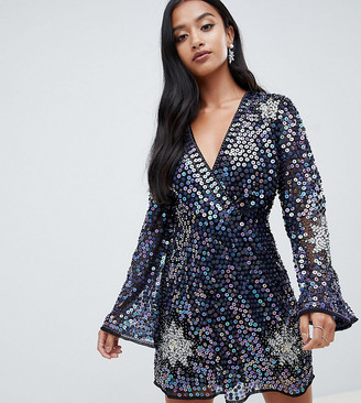 Asos DESIGN Petite Embellished Sequin Star Mini Dress