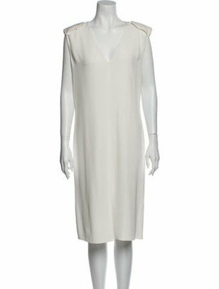 Lanvin V-Neck Midi Length Dress White
