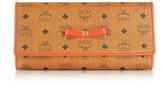 MCM Mina Visetos Cognac 3 Fold Large Wallet w/Zip Pocket