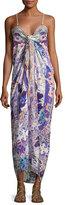Camilla Embellished Tie-Front Maxi Dress, Purple Multicolor