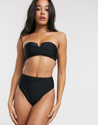 New Look high leg high waisted bikini bottoms in black