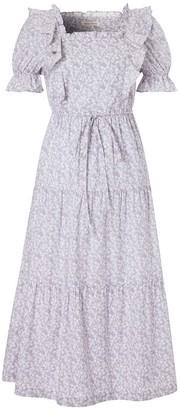 Doyi Park Ruffled Floral-Print Cotton Dress Greyish Purple
