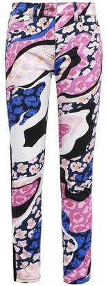 Emilio Pucci Paneled Embroidered Printed High-rise Skinny Jeans