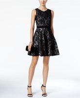Xscape Evenings Damask Mesh Lace Fit & Flare Dress