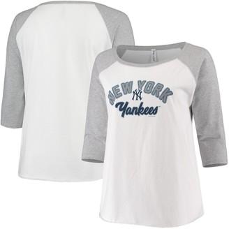 Women's Soft as a Grape White/Heathered Gray New York Yankees Plus Size Baseball Raglan 3/4-Sleeve T-Shirt