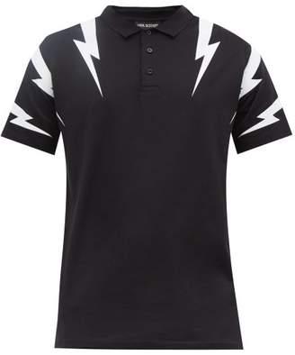 Neil Barrett Thunderbolt-print Cotton Polo Shirt - Mens - Black White