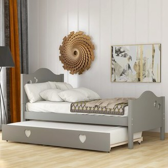 Harriet Bee Nayeli Twin Platform Bed with Trundle Bed Frame Color: Gray