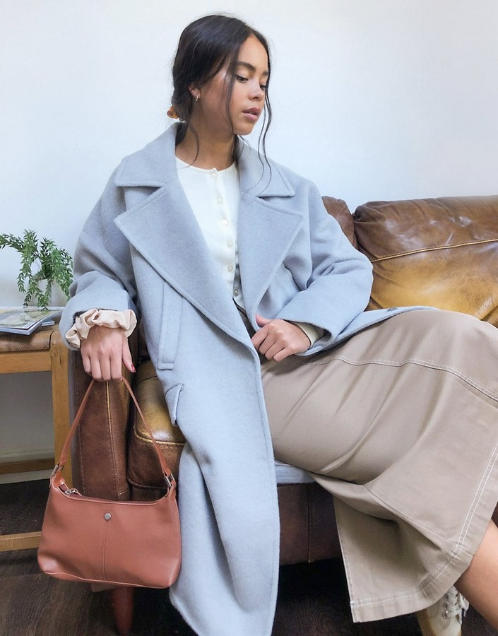 Gianni Feraud Gray Marl oversized slouchy overcoat with wide lapels