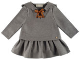 Pili Carrera Hooded Scuba Flounce Dress, Gray, Size 2-4