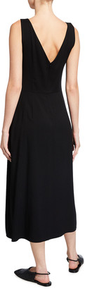 Vince Double Ruched V-Neck Sleeveless Dress