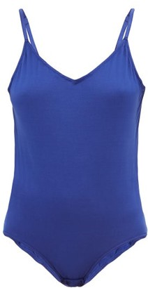 Rossell England - V-neck Cotton-jersey Bodysuit - Womens - Blue