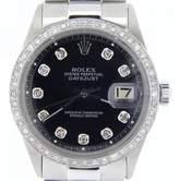 Rolex Stainless Steel Datejust Black Diamond w/President Style Band Mens Watch