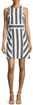 Milly Graphic-Striped Sleeveless Dress, Navy