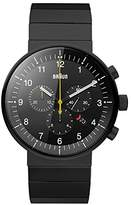 Braun Men's Quartz Watch with Black Dial Analogue Display and Black Stainless Steel Bracelet