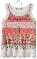 Speechless Girls 7-16 Knit Crochet Tank Top & Necklace