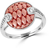 Effy Two-Tone 925 Sterling Silver and Diamond Button Ring