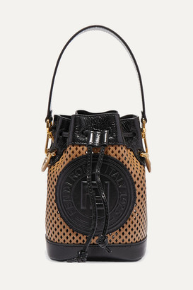 Fendi Mon Tresor Mini Laser-cut Leather Bucket Bag - Brown