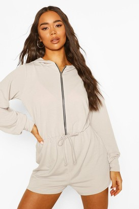 boohoo Soft Zip Through Hooded Playsuit