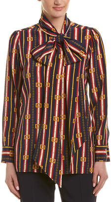 Gucci Tie Neck Silk Blouse