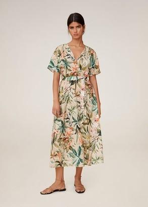 MANGO Linen tropical dress beige - 4 - Women