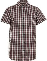 River Island Boys red check short sleeve shirt