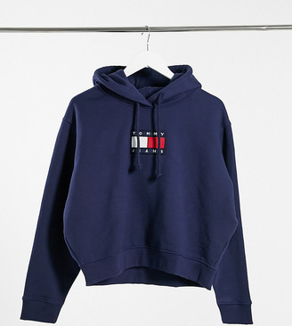 Tommy Jeans Plus flag logo hoodie in navy