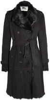 Burberry Double-breasted Shearling Coat - Black