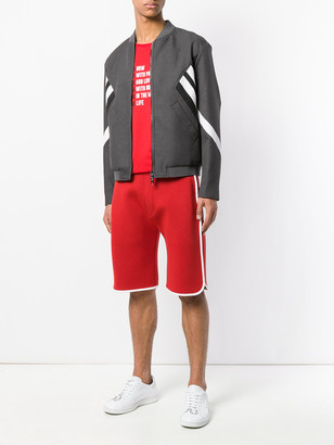 Neil Barrett Striped Bomber Jacket Grey
