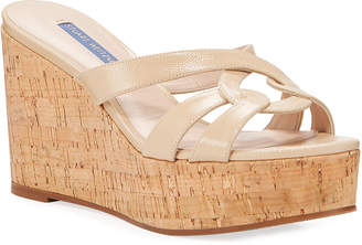 Stuart Weitzman Cadence Patent Leather Wedge Sandals
