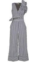 MSGM Ruffle-trimmed Striped Cotton-poplin Jumpsuit