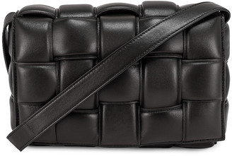 Bottega Veneta Padded Cassette Crossbody Bag in Black & Silver | FWRD