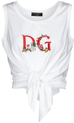 Dolce & Gabbana Exclusive to Mytheresa Logo cropped cotton tank top