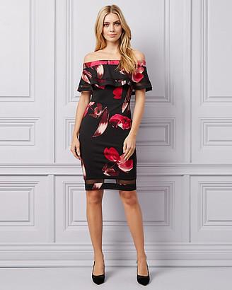 Le Château Floral Knit Crepe Off-the-Shoulder Dress