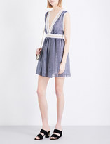 Sandro V-neck fit-and-flare organza dress