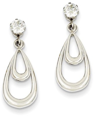 Generic 14K White Gold Polished w/CZ Stud Earring Jackets