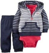Carter's 3 Piece Cardigan Set (Baby) - Navy/White Stripe-18 Months