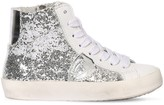 Philippe Model GLITTERED LEATHER HIGH TOP SNEAKERS
