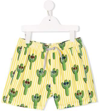 MC2 Saint Barth Kids striped Happy Cactus swimming shorts