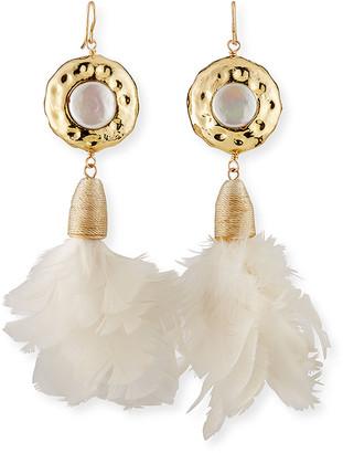 Devon Leigh Pearl & Fabric Feather Drop Earrings