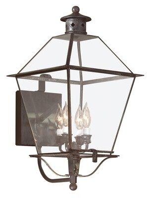 Darby Home Co Theodore 4-Light Outdoor Wall Lantern Finish: Charred Iron, Shade Type: Clear