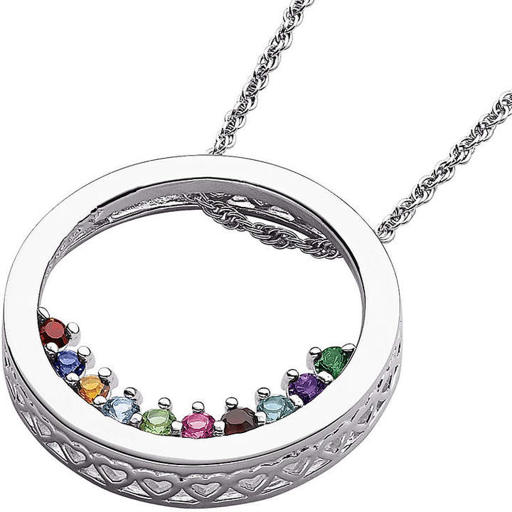 JCPenney FINE JEWELRY Personalized Family Birthstone Sterling Silver Circle Slider Pendant Necklace