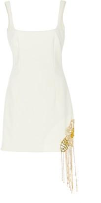 Area Crystal Embellished Crepe Mini Dress