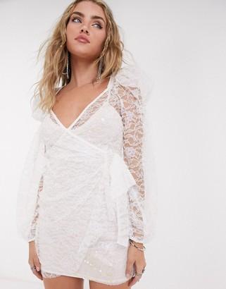 For Love & Lemons Lourve long sleeve dress in white