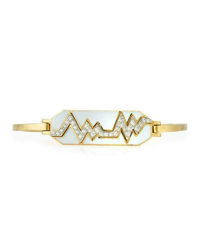 "David Webb Motif"" 18k Gold Diamond Skip Zigzag Bracelet with White Enamel & Platinum"