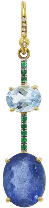 Irene Neuwirth One-Of-A-Kind Fine Double Aquamarine and Emerald Pave Yellow Gold Single Earring